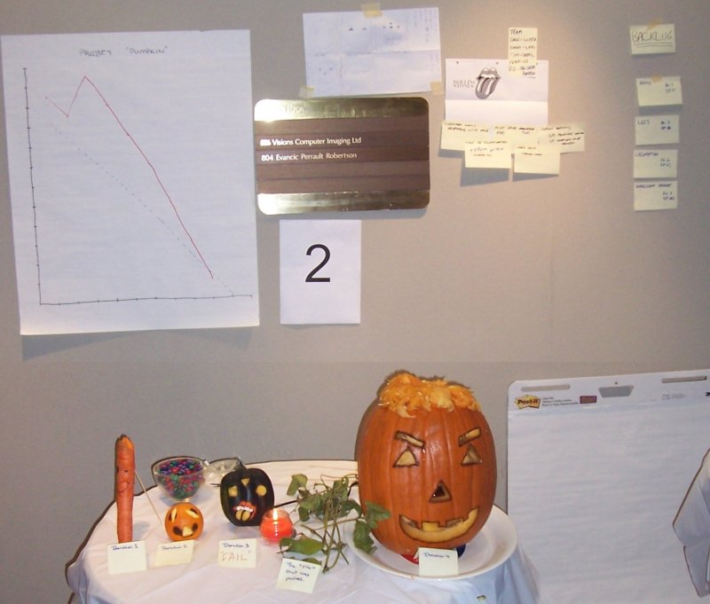 Four iterations of pumpkin development